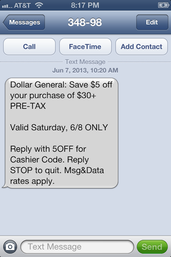 Dollar General Text Messaging Campaign