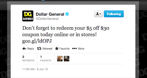 Dollar General Twitter Promotion