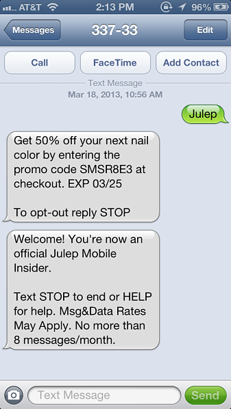 Online Retailer Text Messaging Promotion