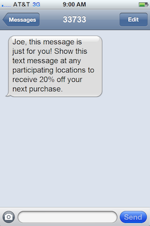 Personalized Text Message Coupon
