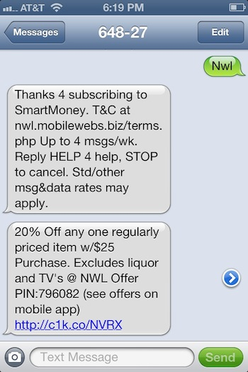 Retail Mobile Marketing Text Message
