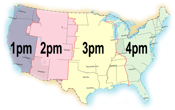 Time Zones - Map of time zones us