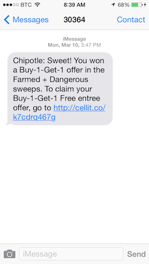 Text message coupons