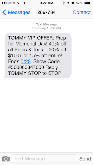 Memorial Day Text Message Marketing Promotions Roundup