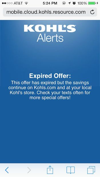 Cell phone coupons for kohls