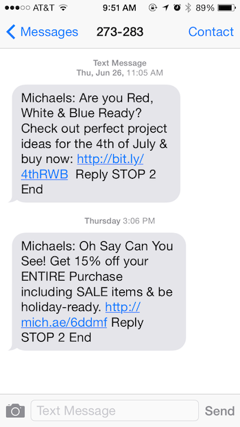 Coupons on phone for michaels