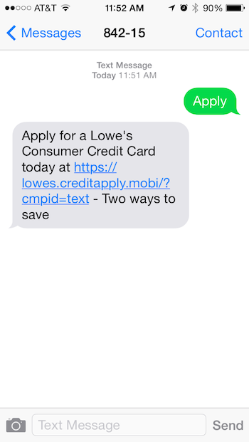 Lowe's Launches SMS Autoresponder to Increase Credit Card