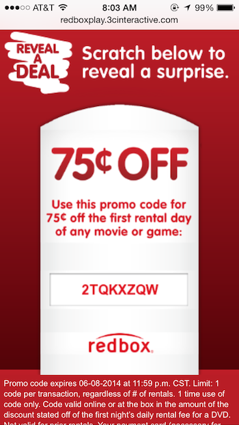 "Text ""REDBOX"" to to receive members-only details on a phone. Digital gift cards never expire and can be either printed or emailed. Gift cards include promo codes that can be used at any kiosk. The Redbox Facebook page provides quick access to Customer Service, special offers, trivia, and recommendations."