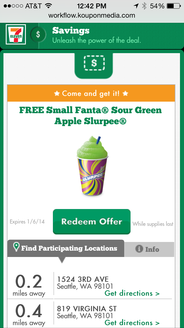 7-Eleven Mobile Coupon Example