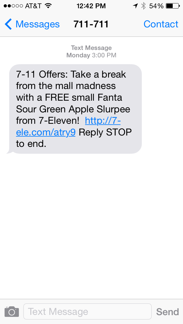 7-Eleven SMS Coupon Example