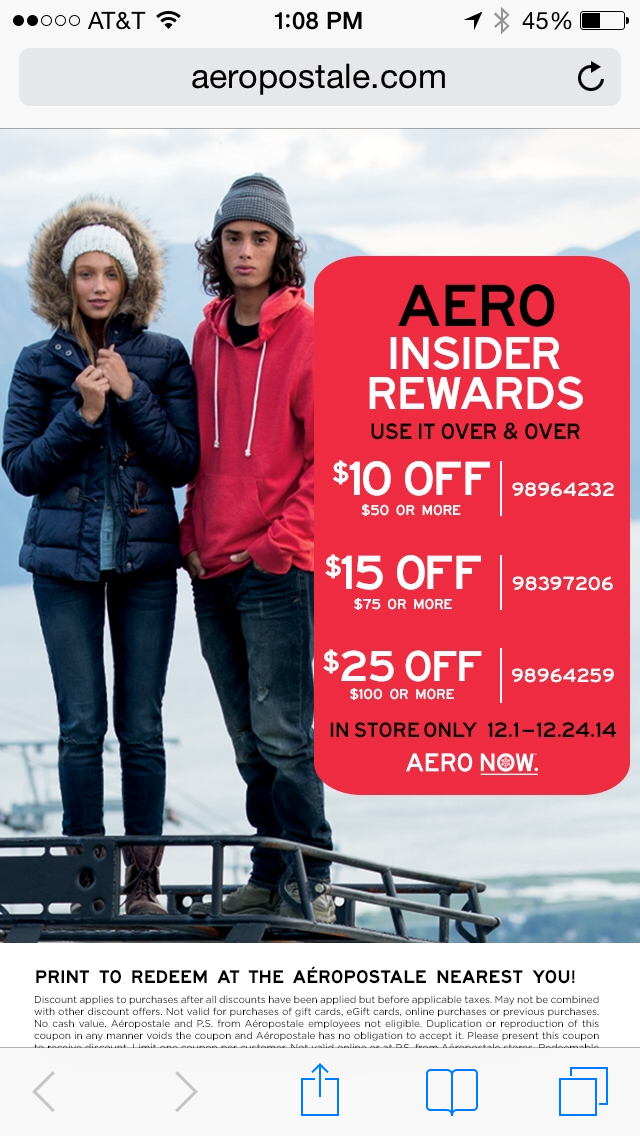 AERO Mobile Coupon Example