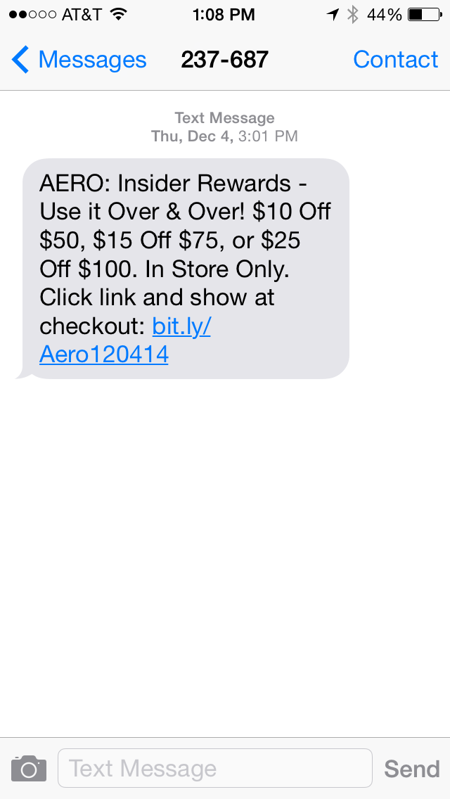 AERO SMS Coupon Example