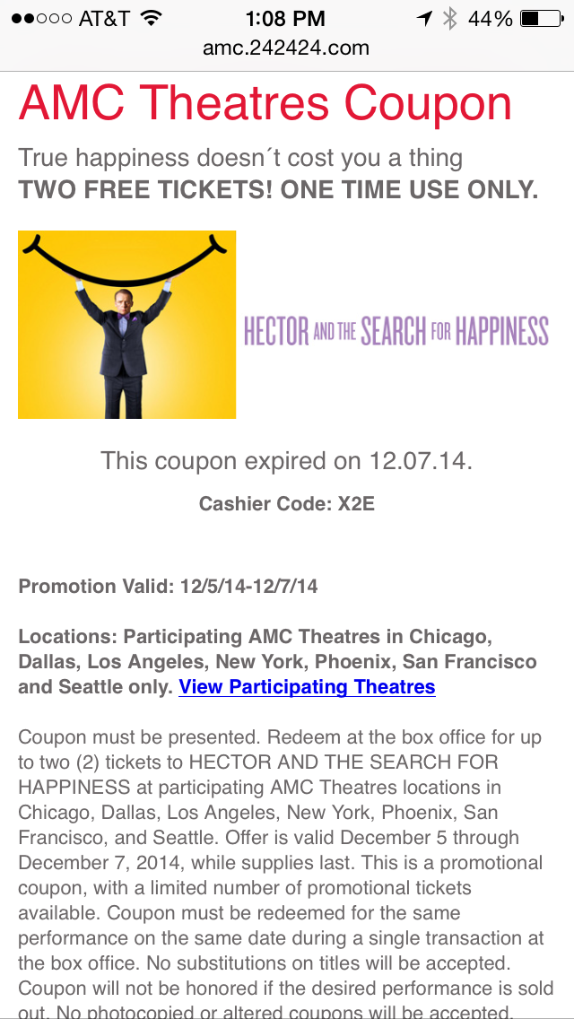 AMC Theaters Mobile Coupon Example