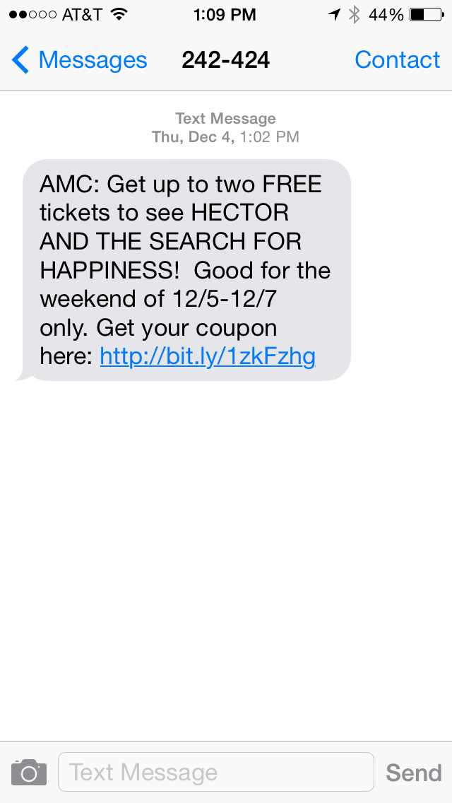 AMC Theaters SMS Coupon Example