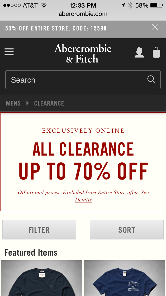 Abercrombie & Fitch Mobile Coupon Example