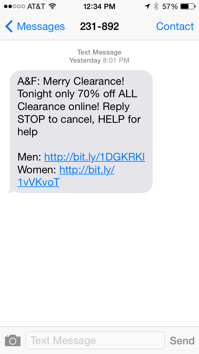 Abercrombie & Fitch SMS Coupon Example