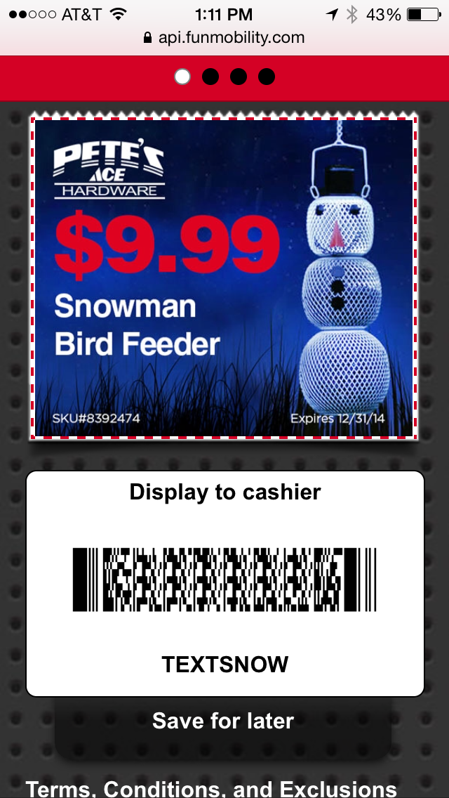 Ace Hardware Mobile Coupon Example