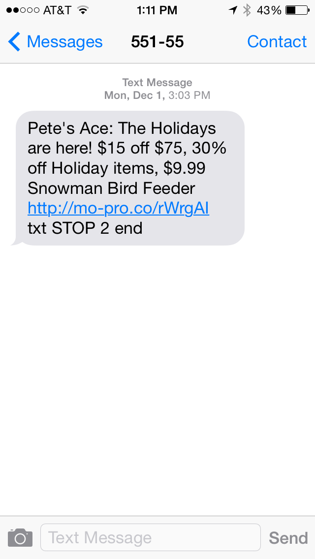 Ace Hardware SMS Coupon Example