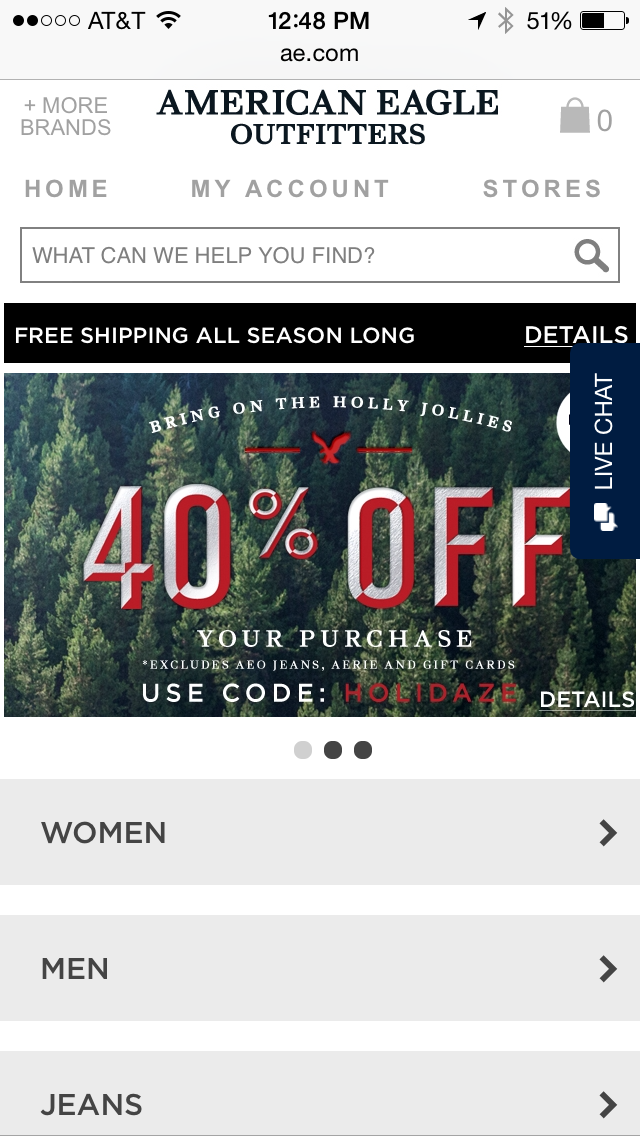 American Eagle Outfitters Mobile Coupon Example