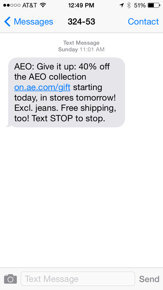 American Eagle Outfitters SMS Coupon Example