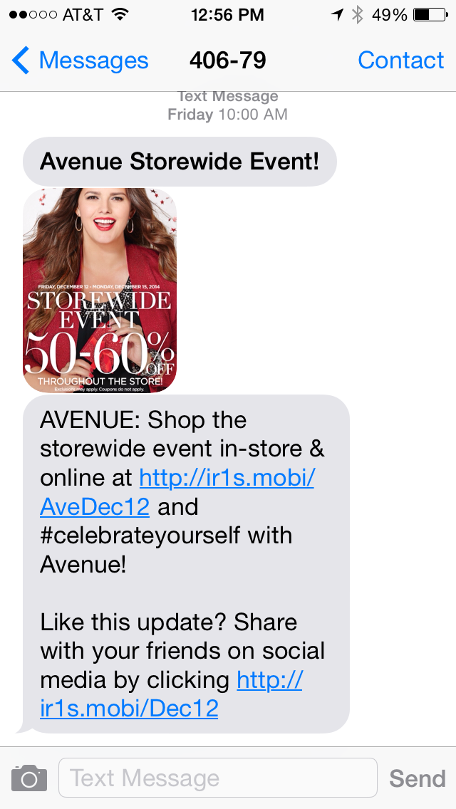Avenue SMS Coupon Example