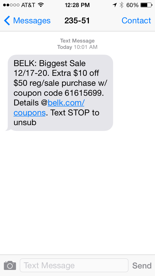 BELK SMS Coupon Example
