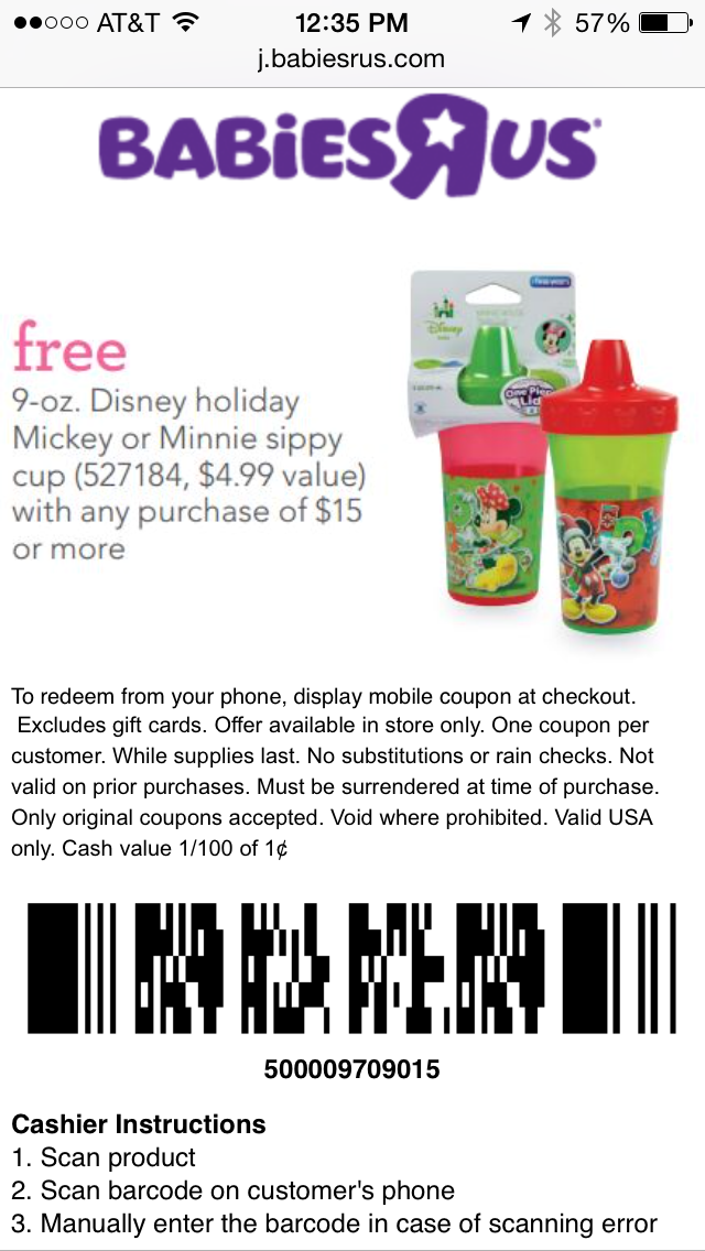 Babies R Us Mobile Coupon Example