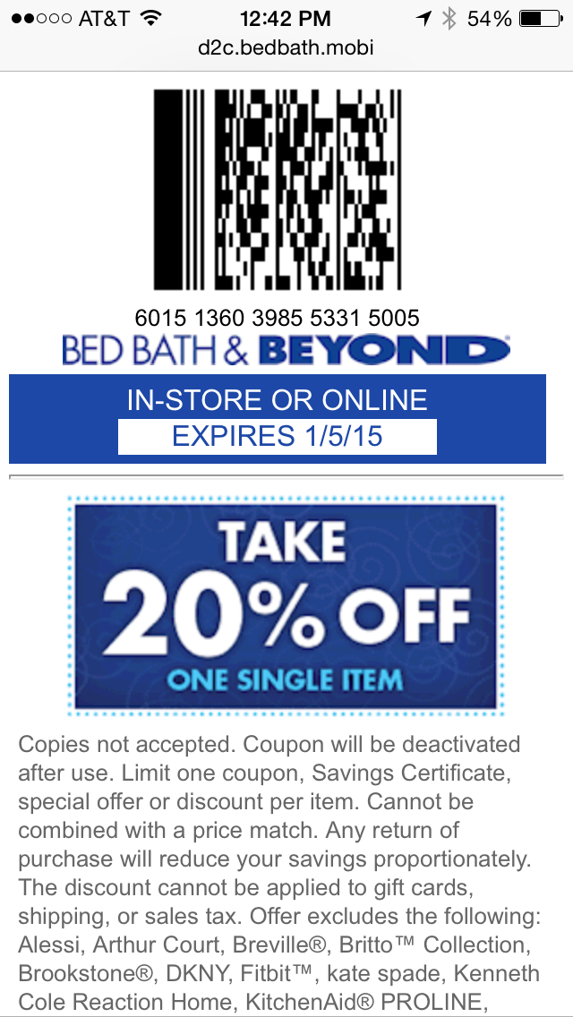Bed Bath & Beyond Mobile Coupon Example