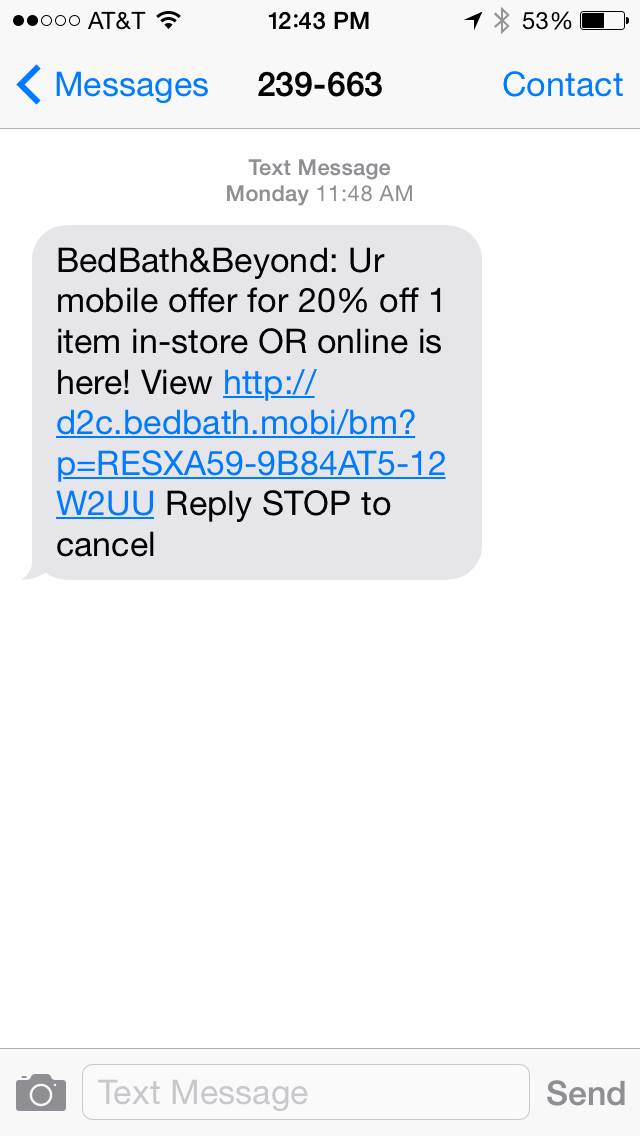 Bed Bath & Beyond SMS Coupon Example
