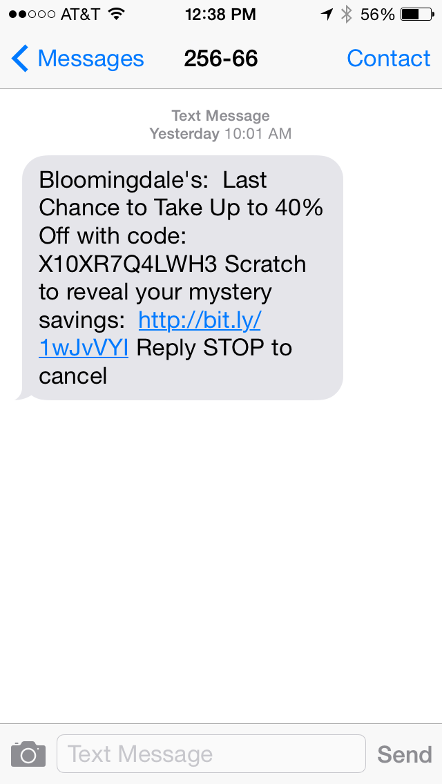 Bloomingdale's SMS Coupon Example