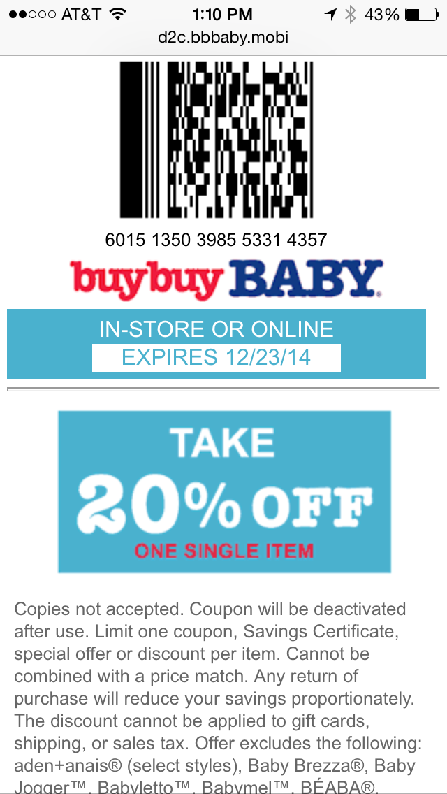 Buy Buy Baby Mobile Coupon Example