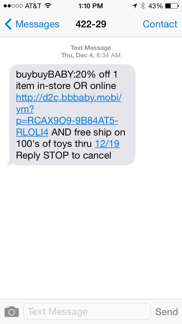 Buy Buy Baby SMS Coupon Example