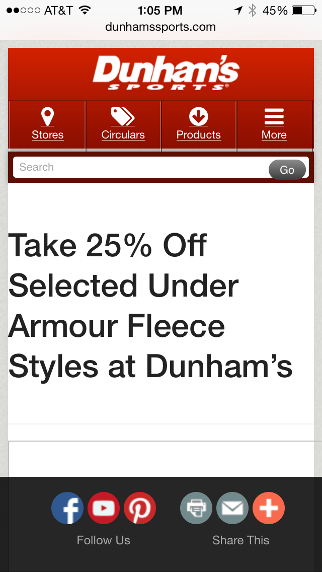 Dunham's Mobile Coupon Example