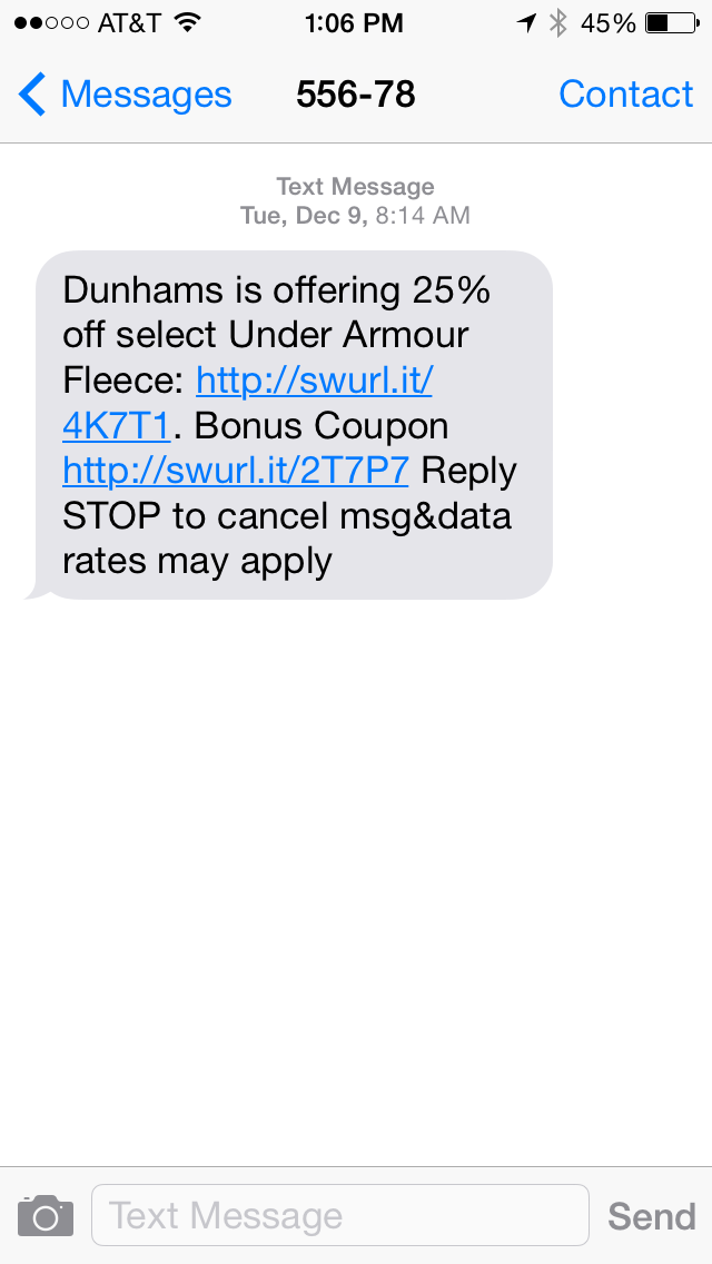 Dunhams SMS Coupon Example