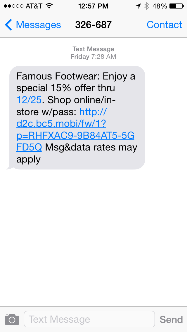 Famous Footwear SMS Coupon Example