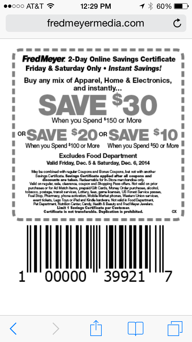 Fred Meyer Mobile Coupon Example