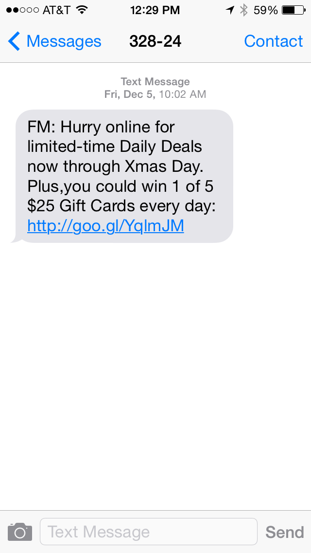 Fred Meyer SMS Coupon Example