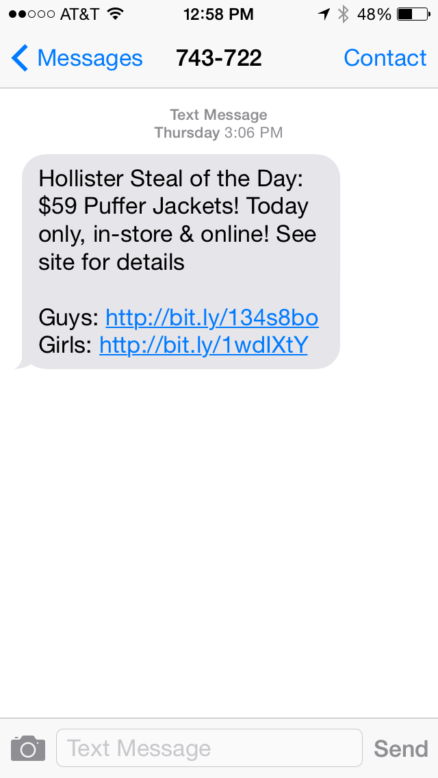 Hollister SMS Coupon Example