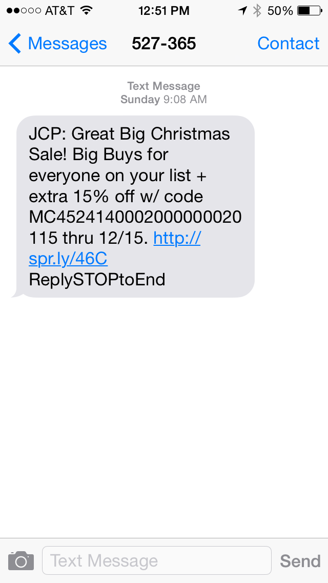 JC Pennys SMS Coupon Example