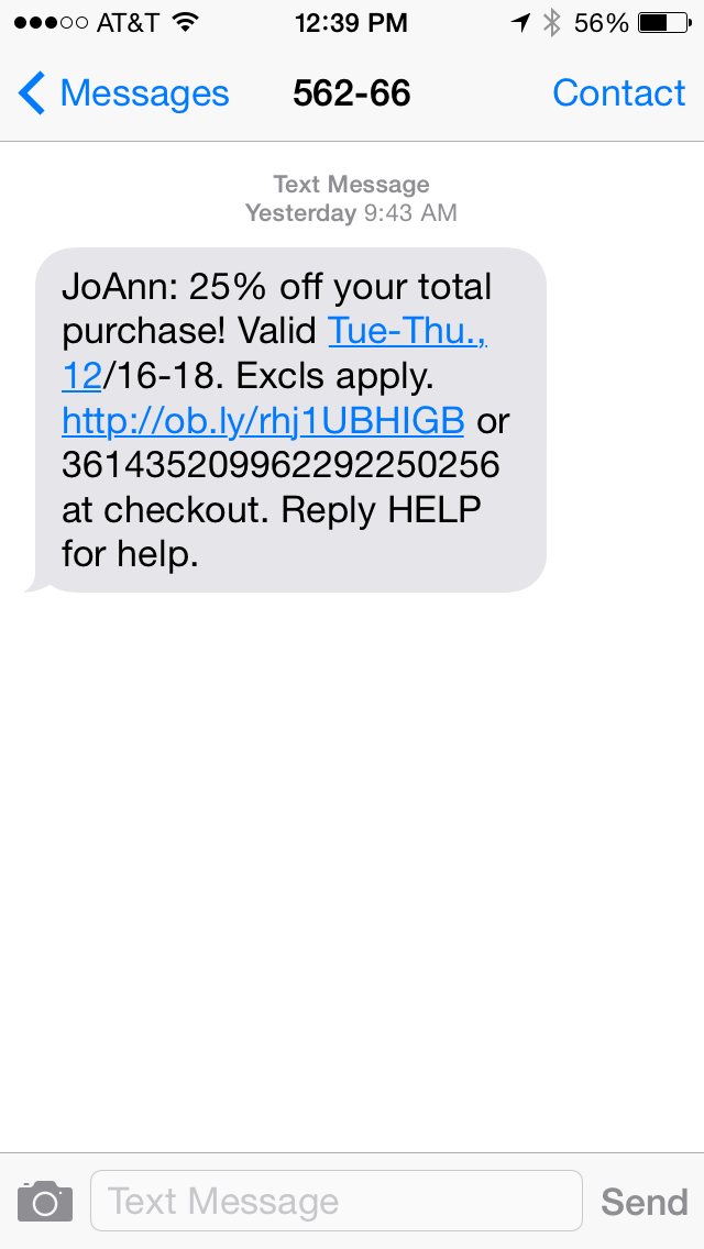 Joann Fabrics SMS Coupon Example