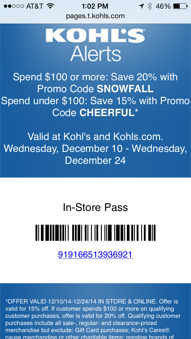 Kohl's Mobile Coupon Example