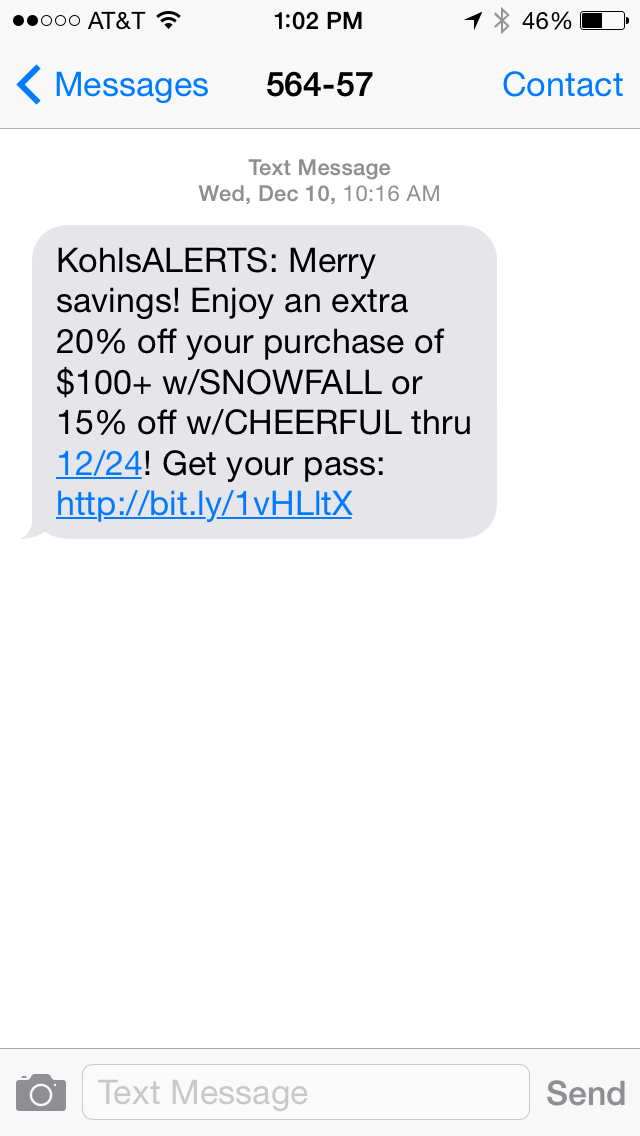 Kohls SMS Coupon Example