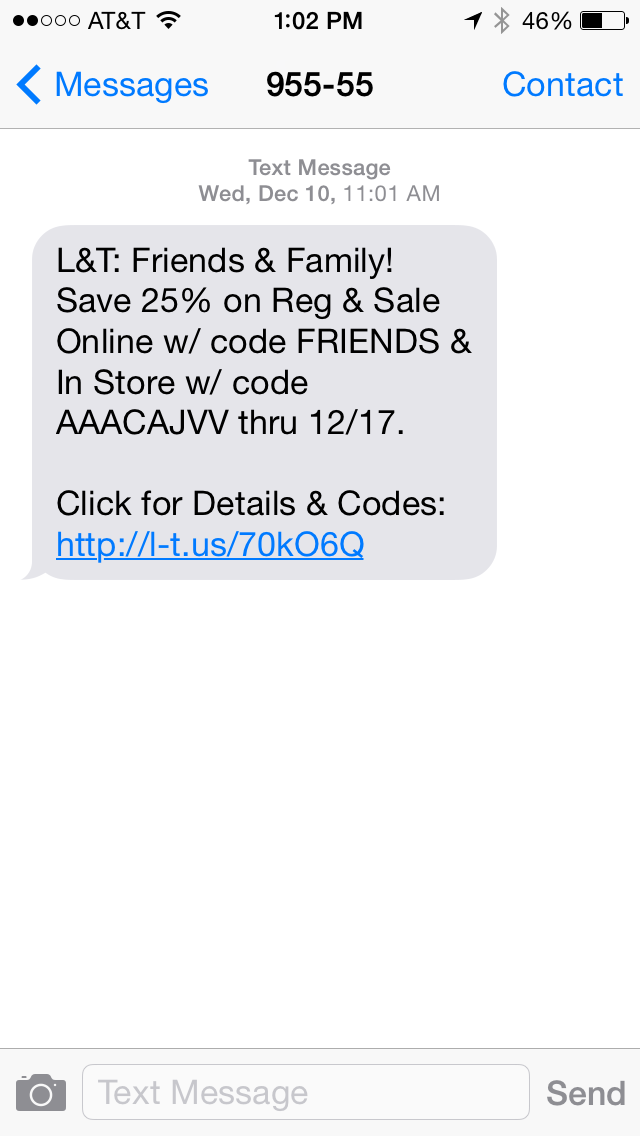 Lord & Taylor SMS Coupon Example