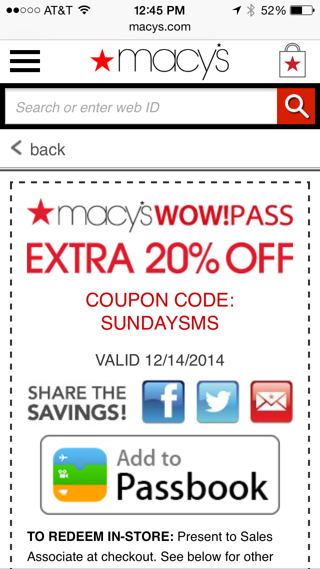Macy's Mobile Coupon Example
