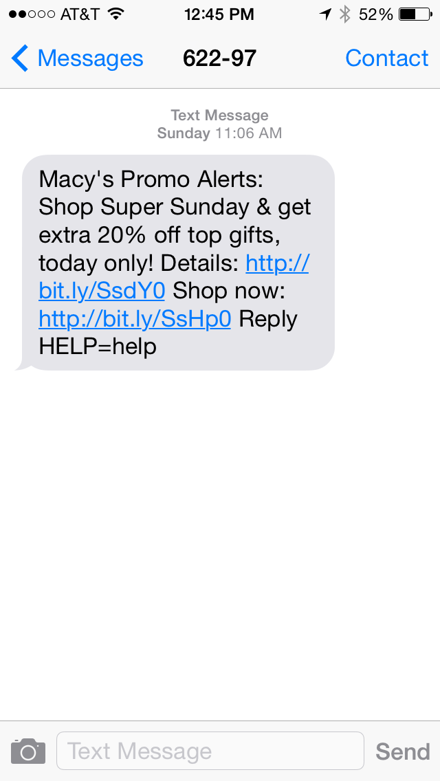 Macy's SMS Coupon Example