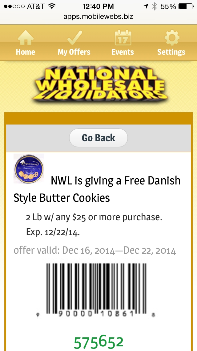 National Wholesale Liquidators Mobile Coupon Example
