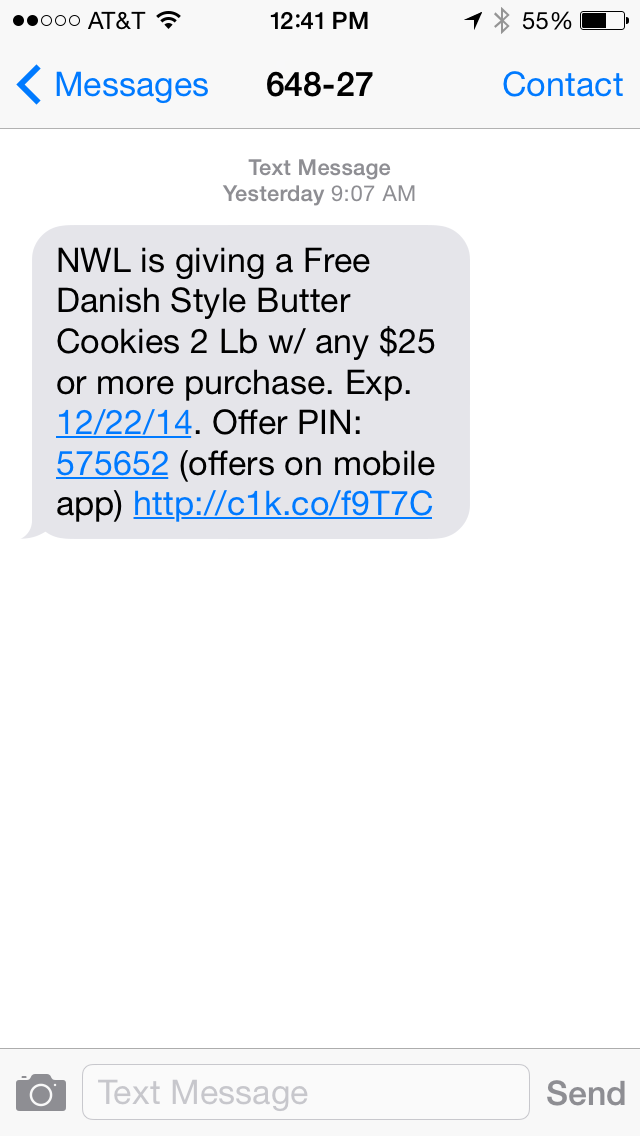 National Wholesale Liquidators SMS Coupon Example