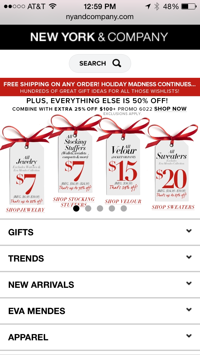 New York & Company Mobile Coupon Example