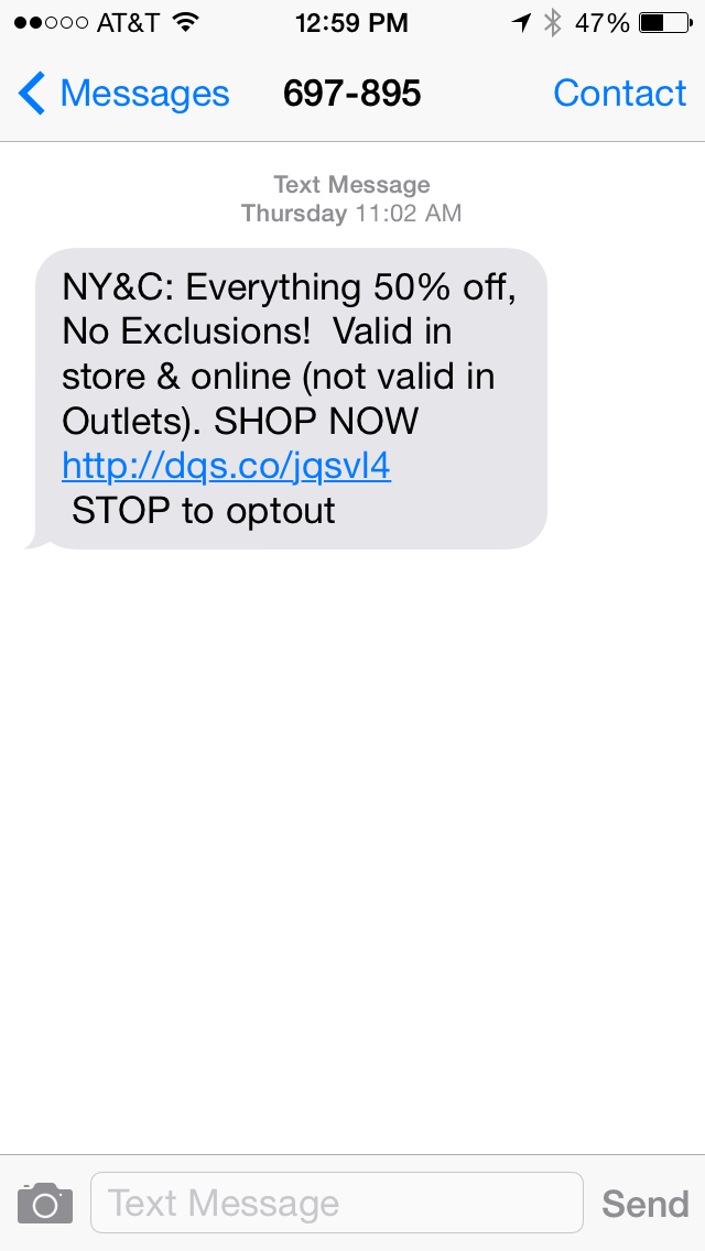 New York & Company SMS Coupon Example