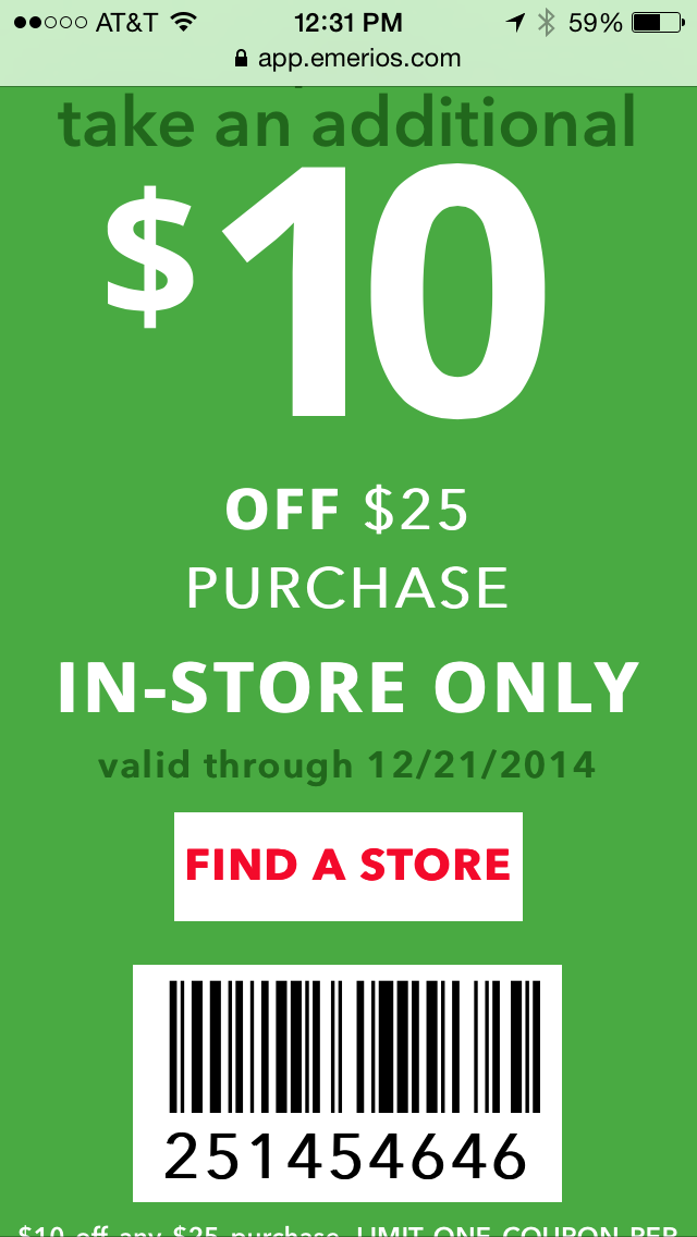 Payless Shoes Mobile Coupon Example